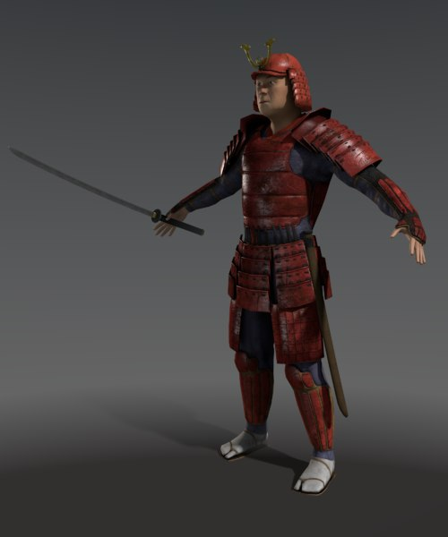 3d samurai character games model