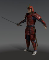 3d samurai character games model