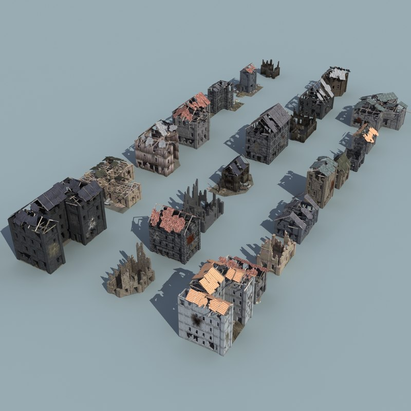 ruined buildings 3ds