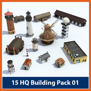 pack buildings 3d model
