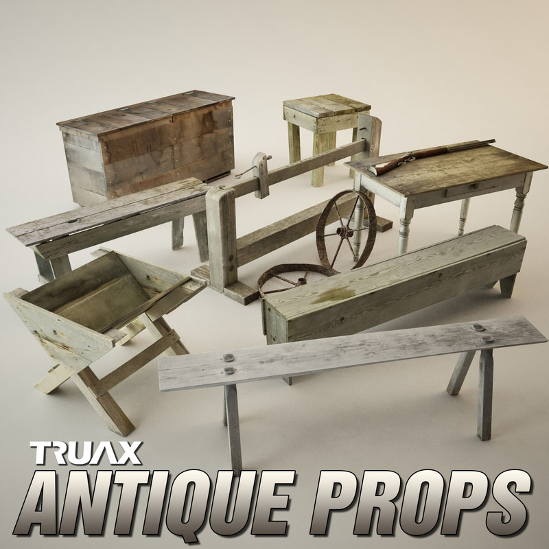 antique props pack 3d model