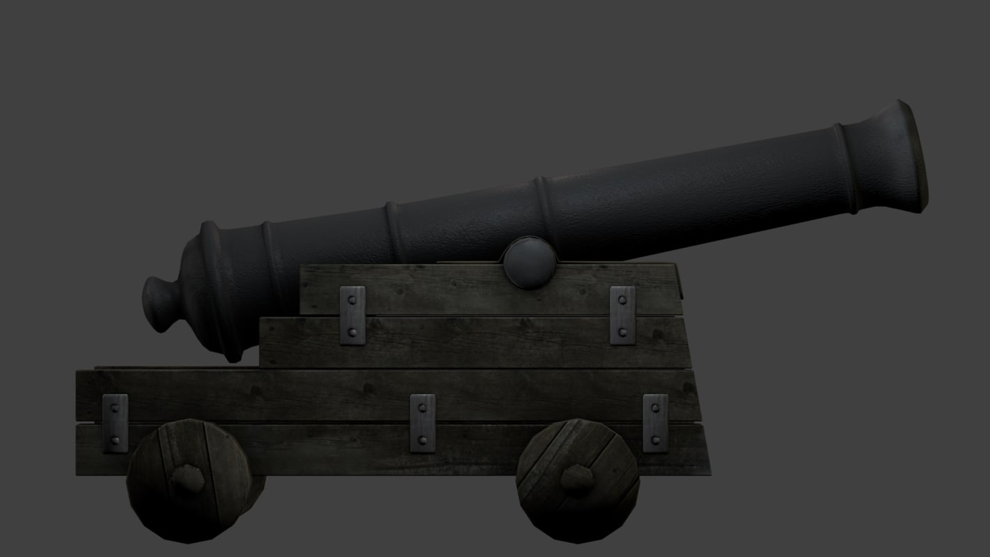 3d obj old cannon