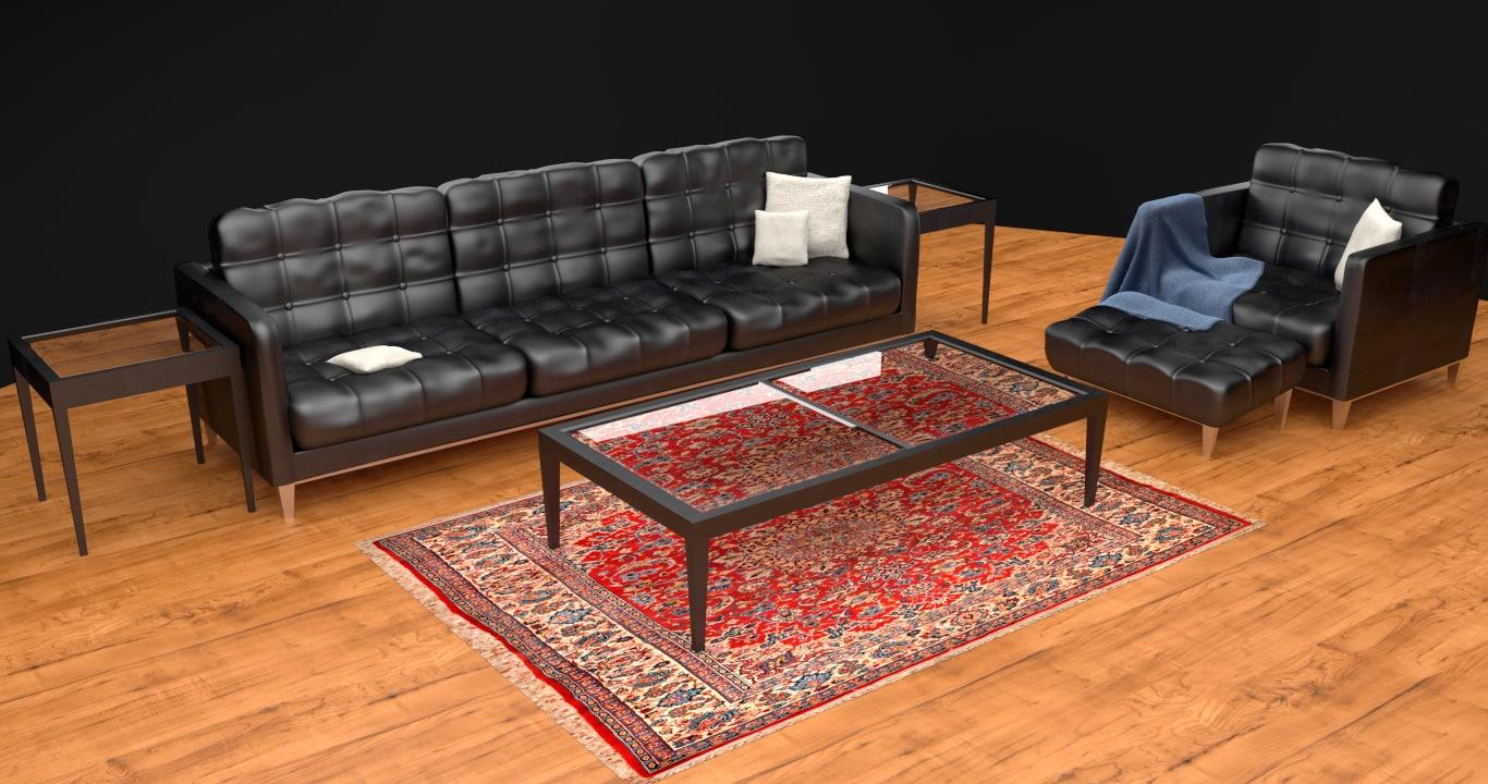 3d modern leather furniture set