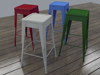 classic metal stool 3d model