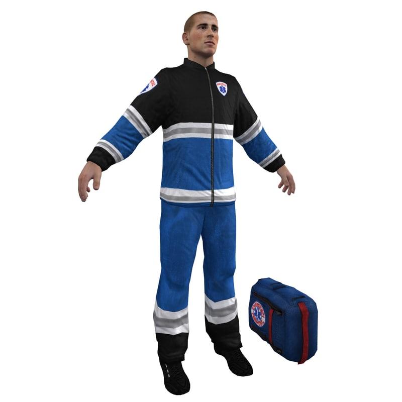 paramedic emergency character 3d model
