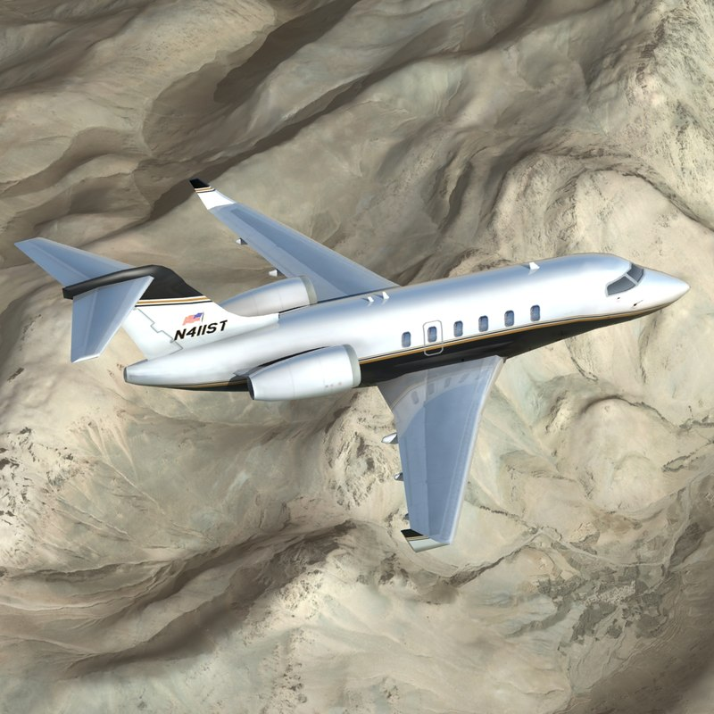 bombardier cl-350 business jet 3d model