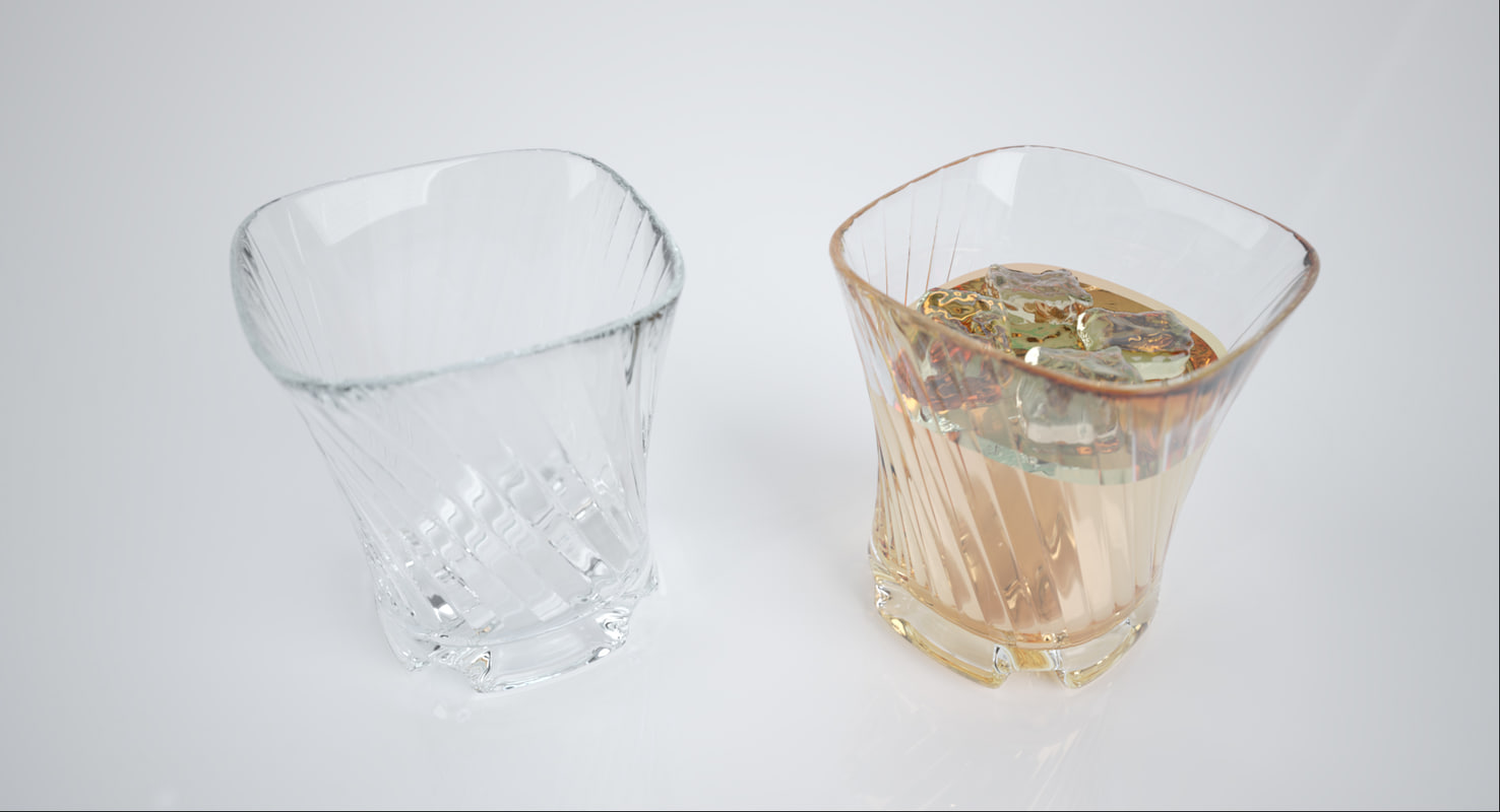 3d model of glass ice whisky drink