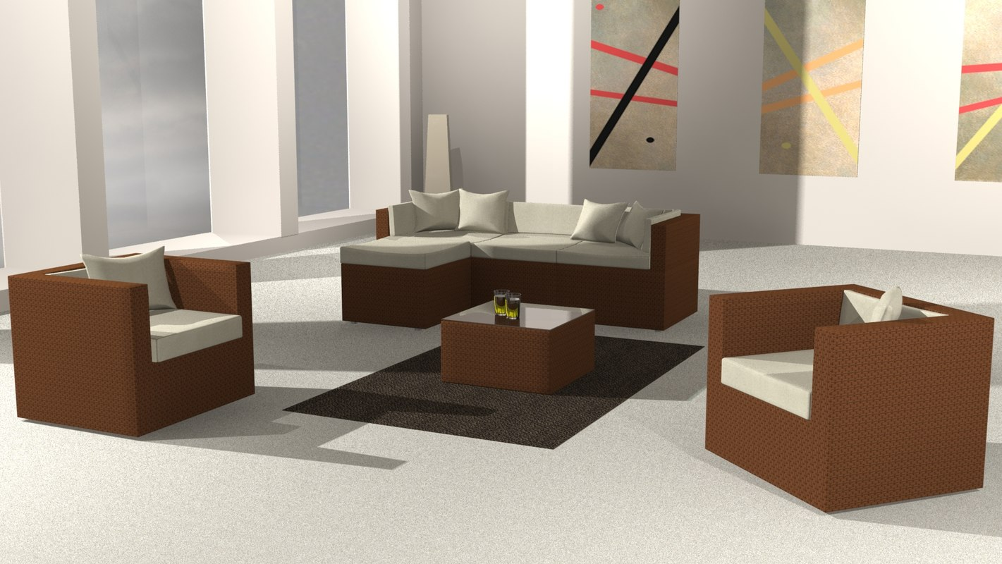 rattan sofa set 3d model