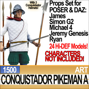 props set daz conquistador 3d model