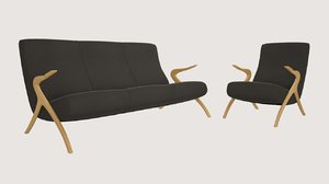 3ds couch armchair 60s