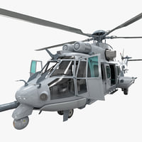 Eurocopter EC725 Caracal Tactical Transport Helicopter Rigged 4