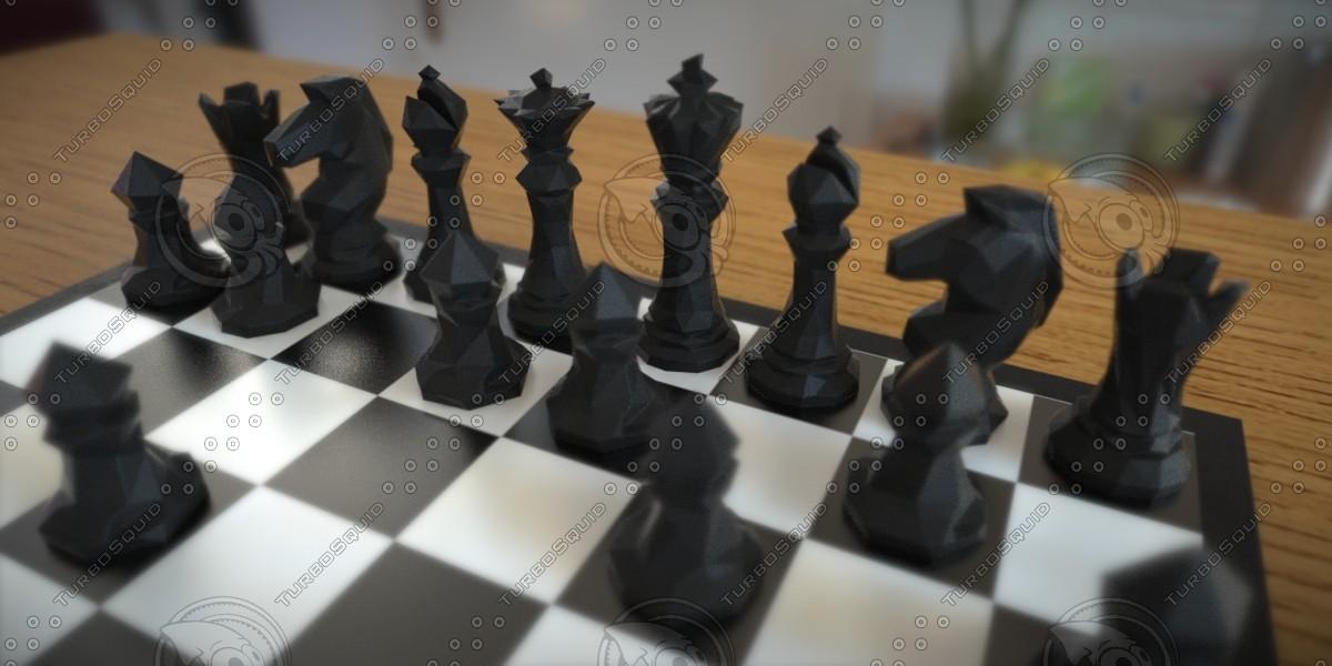 maya chess set print faceted