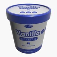 3d ice cream pot vanilla