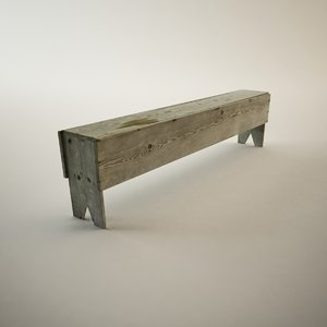 3d antique wooden bench model