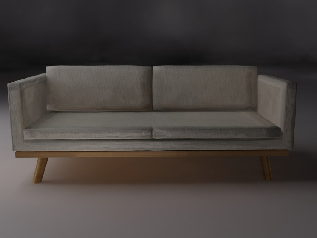 3 seater cream sofa 3d model