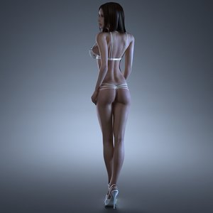 3d fitness girl rigging female body model
