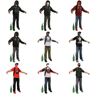 urban guerrilla pack man 3d model
