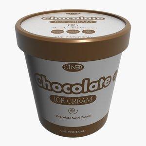 3d ice cream pot chocolate model