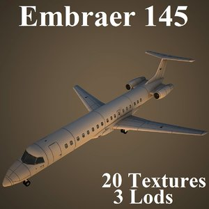 3d model embraer low-poly