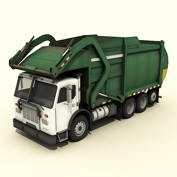 low-poly garbage truck 3d 3ds