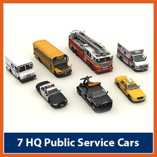 pack cars ambulance vehicle 3d model
