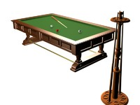 3d model old billard table