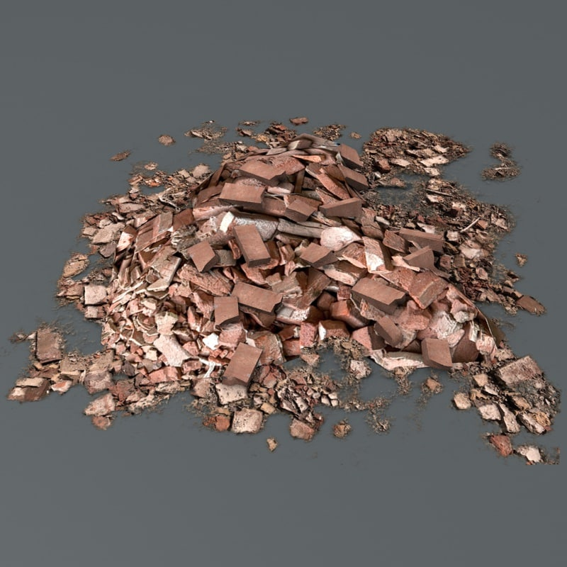 ready brick debris pile 3d c4d