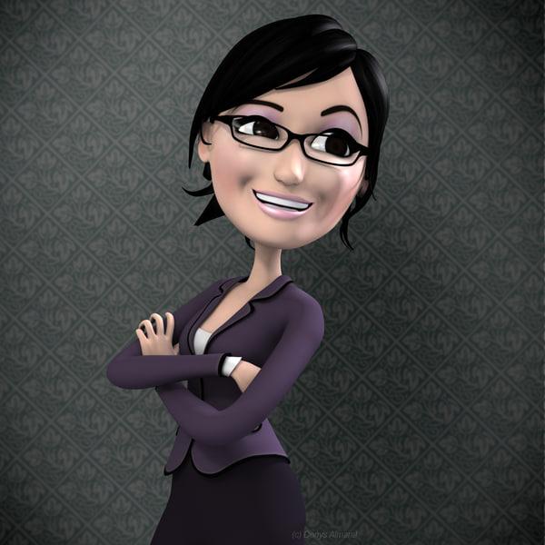 Max Rigged Woman Cartoon Girl Character