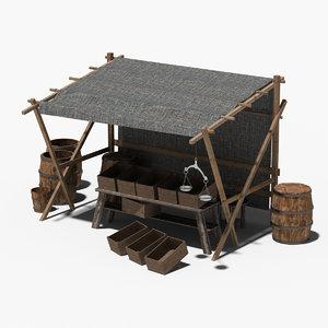 3d model medieval market stall