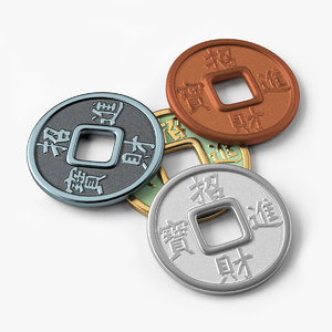 3d model of chinese coins