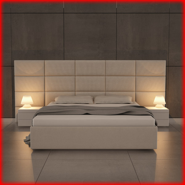 bed bedroom room 3d fbx