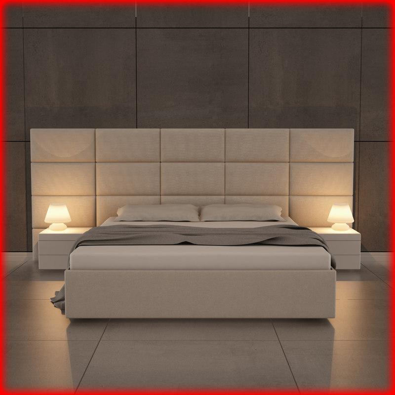 bed bedroom room 3d fbx