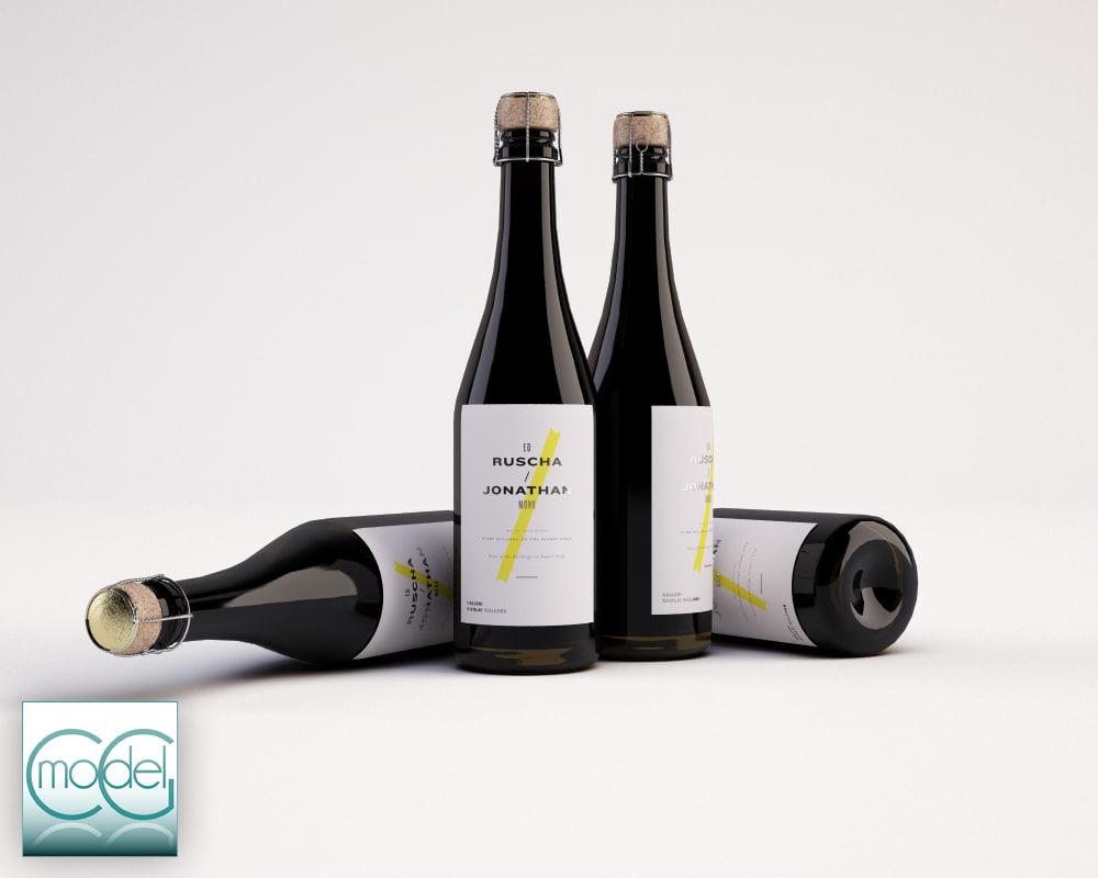 3ds max bottles wine