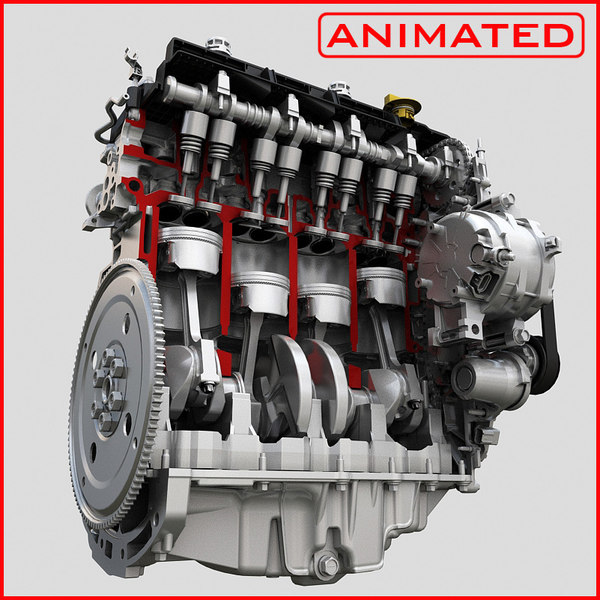 3d engine piston motion animation model