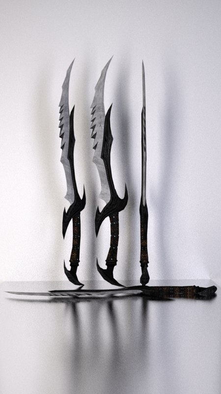 3d daedric sword skyrim model