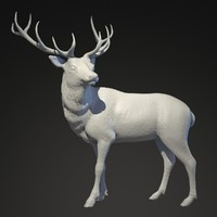 sculpture deer obj