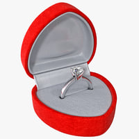 Diamond Ring in Red Velvet Box