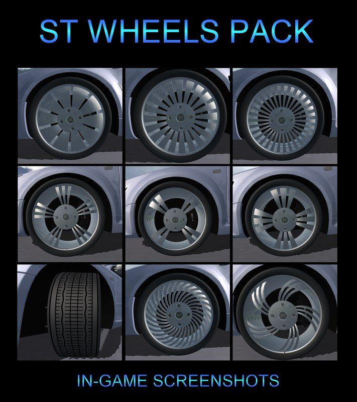 free car wheel pack 3d model