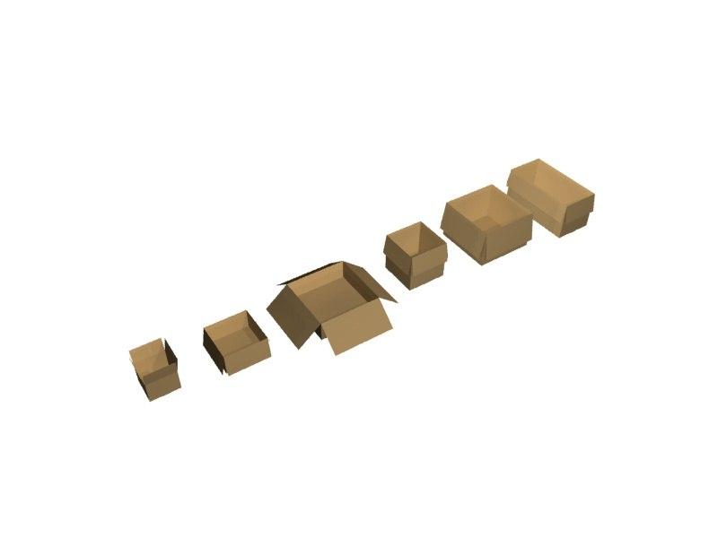 6 boxes 3d model