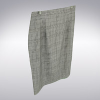 Skirt In Gray Plaid - 3D Scanned