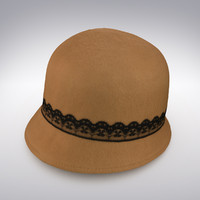 Ladies Hat Felt Tanned With Black Lacing - 3D Scanned