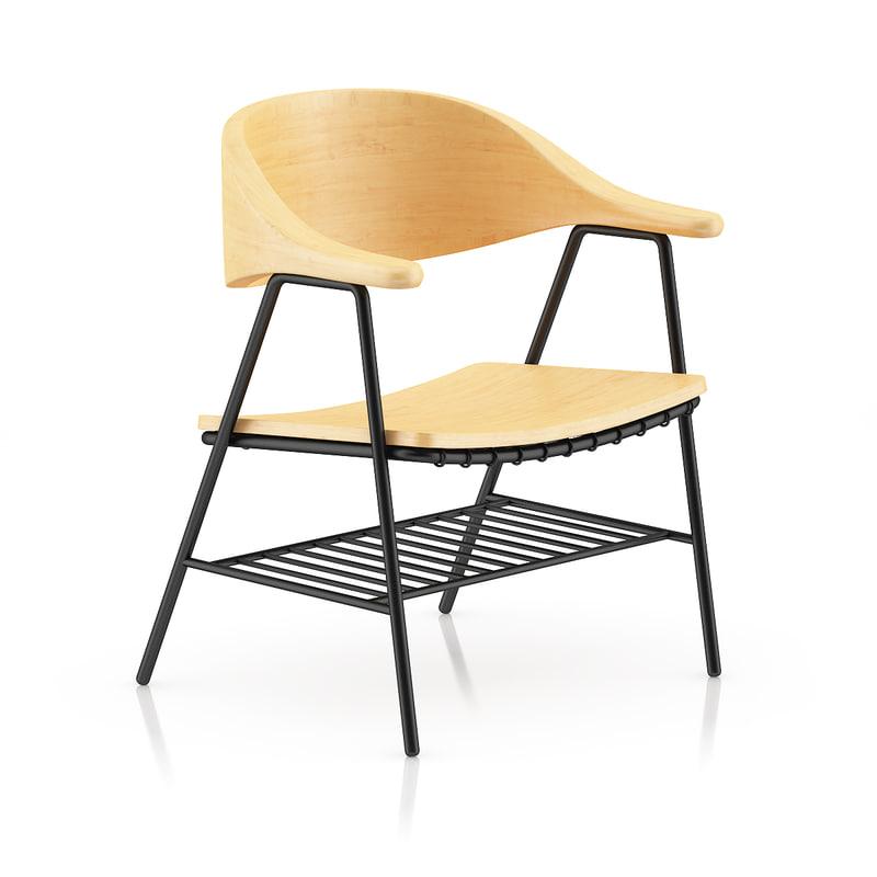 3d wooden chair black metal model