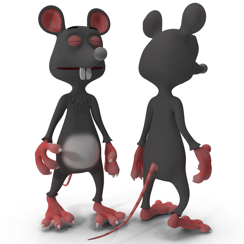 3d model cartoon rat rigged