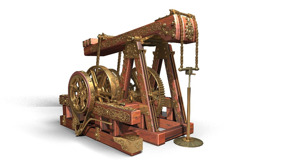 3ds max oil rocking machine