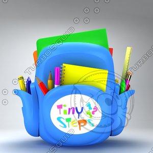 3d model school bag