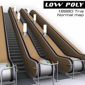 escalator metro 3d model
