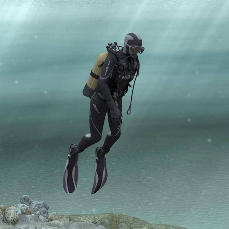 3dsmax scuba woman diver