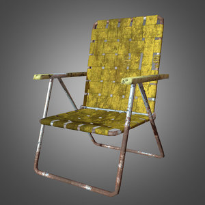 retro old lawn chair 3d obj