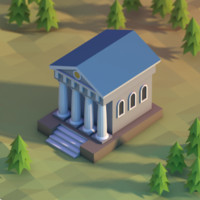 Classical building low poly