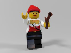 lego pirate woman character 3d max